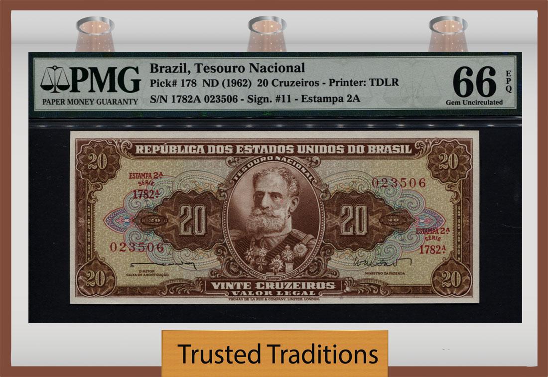 "BRAZIL 10 CRUZEIROS P 193 C /""B/"" PREFIX AUNC"