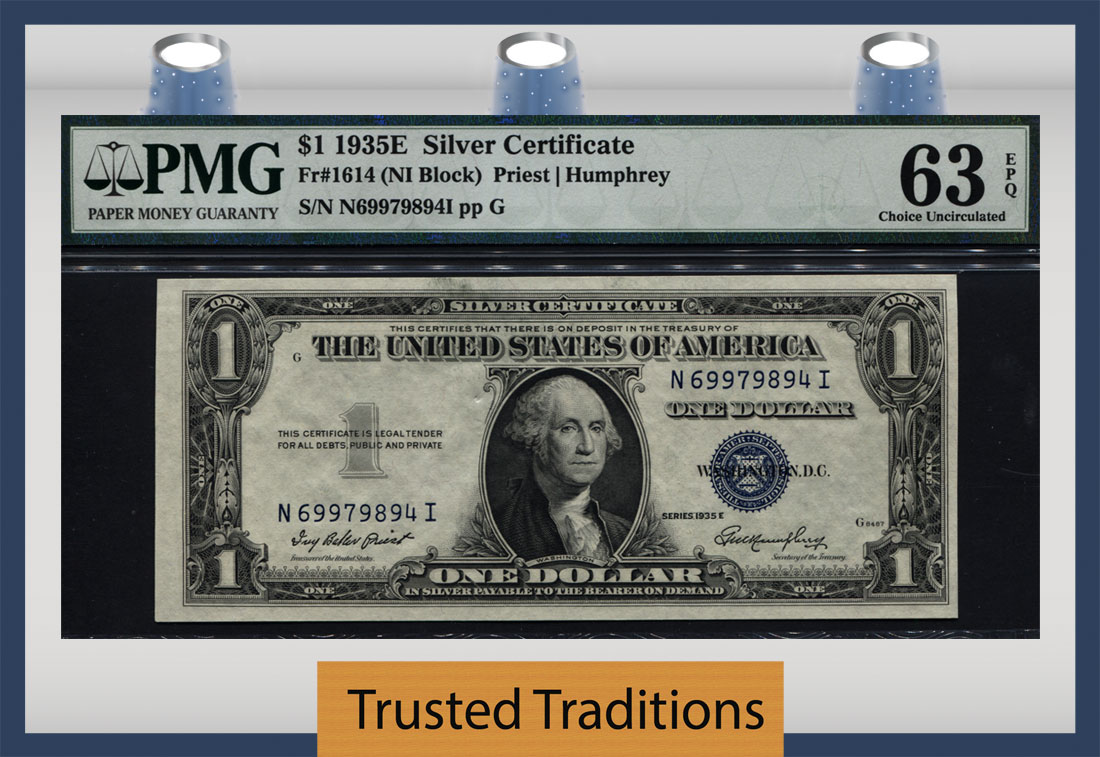 1935 E Silver Certificate Dollar Bill Blue Seal Value Best Design