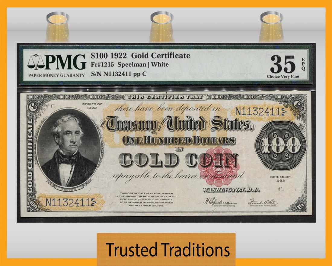 Tt Fr 1215 1922 100 Gold Certificate Colorful Gold Pmg 35 Epq