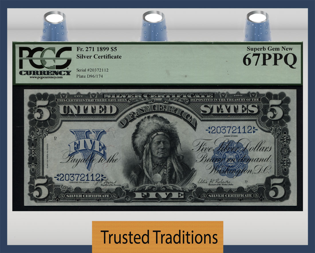 Tt Fr 0271 1899 5 Silver Certificate Chief Bold Blue Seal Pcgs 67