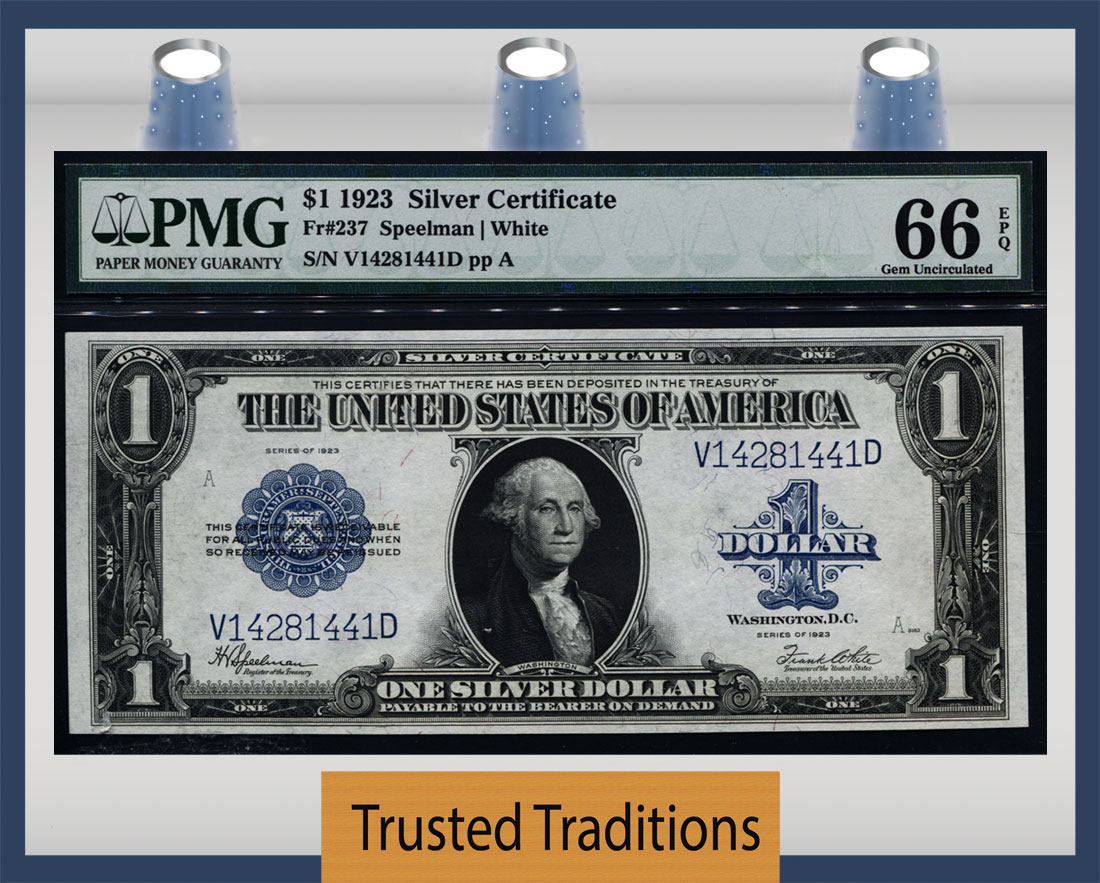 Tt Fr 0237 1923 1 Silver Certificate Blue Seal Pmg 66 Epq Gem