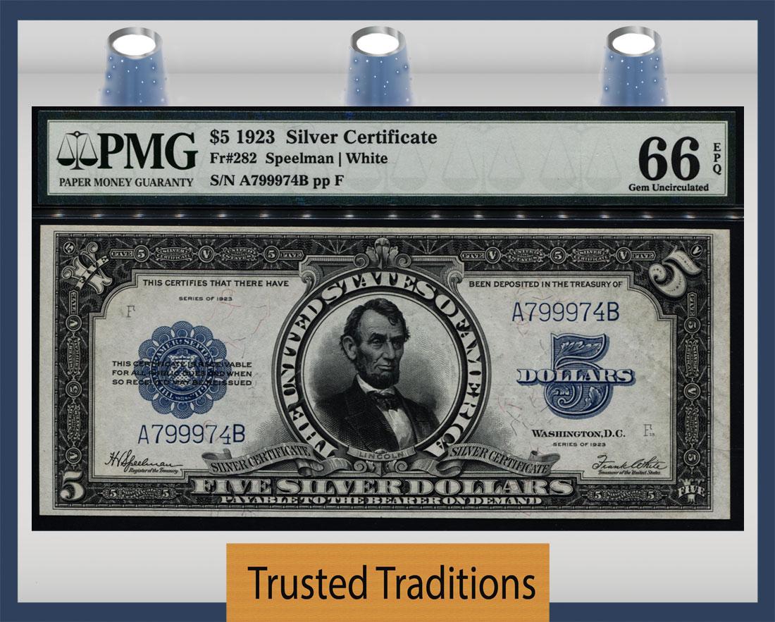 Tt Fr 0282 1923 5 Silver Certificate Porthole Blue Seal Pmg 66 Epq