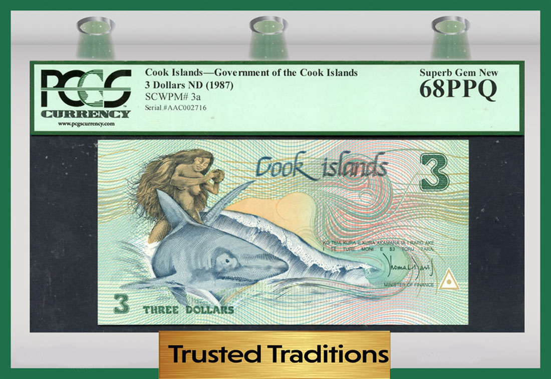 Cook Island P-3 3 Dollars Year ND 1987 Shark Uncirculated Banknote