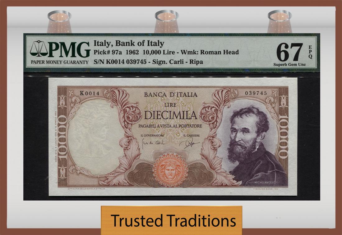 ITALY 10,000 10000 LIRE 1973 1962 P 97 XF