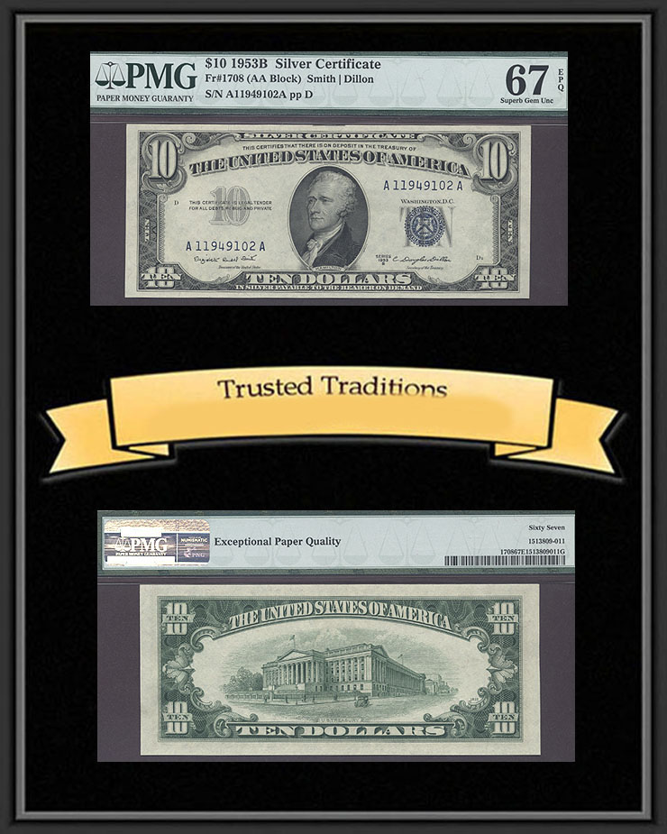 Tt Fr 1708 1953 B 10 Silver Certificate Pmg 67 Epq Superb Gem Two