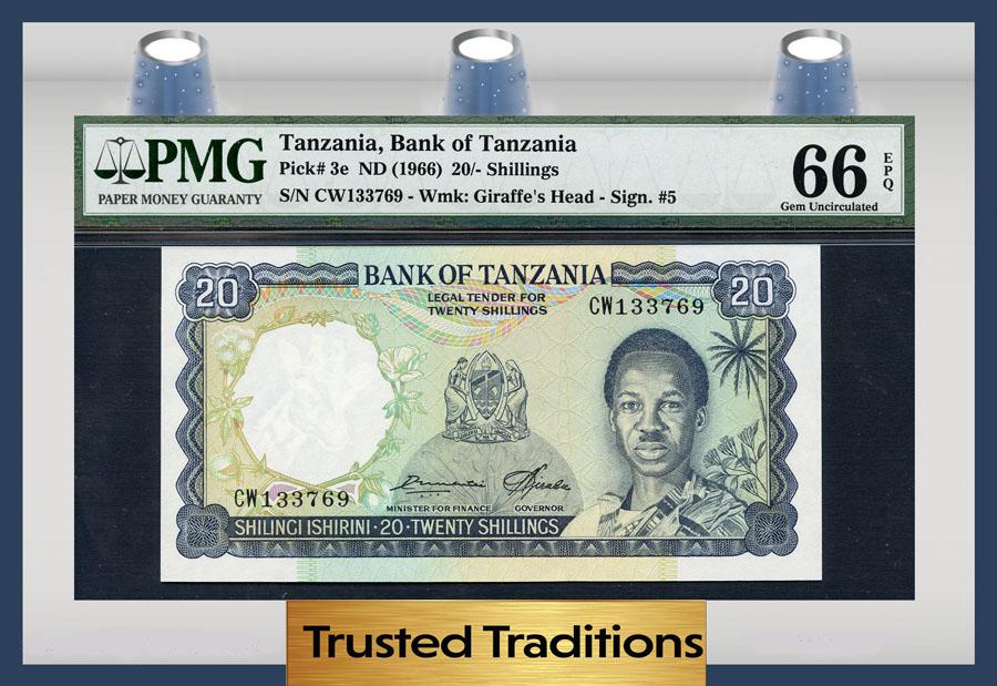 TANZANIA 20 Shillings 1966 P-3e UNC Uncirculated
