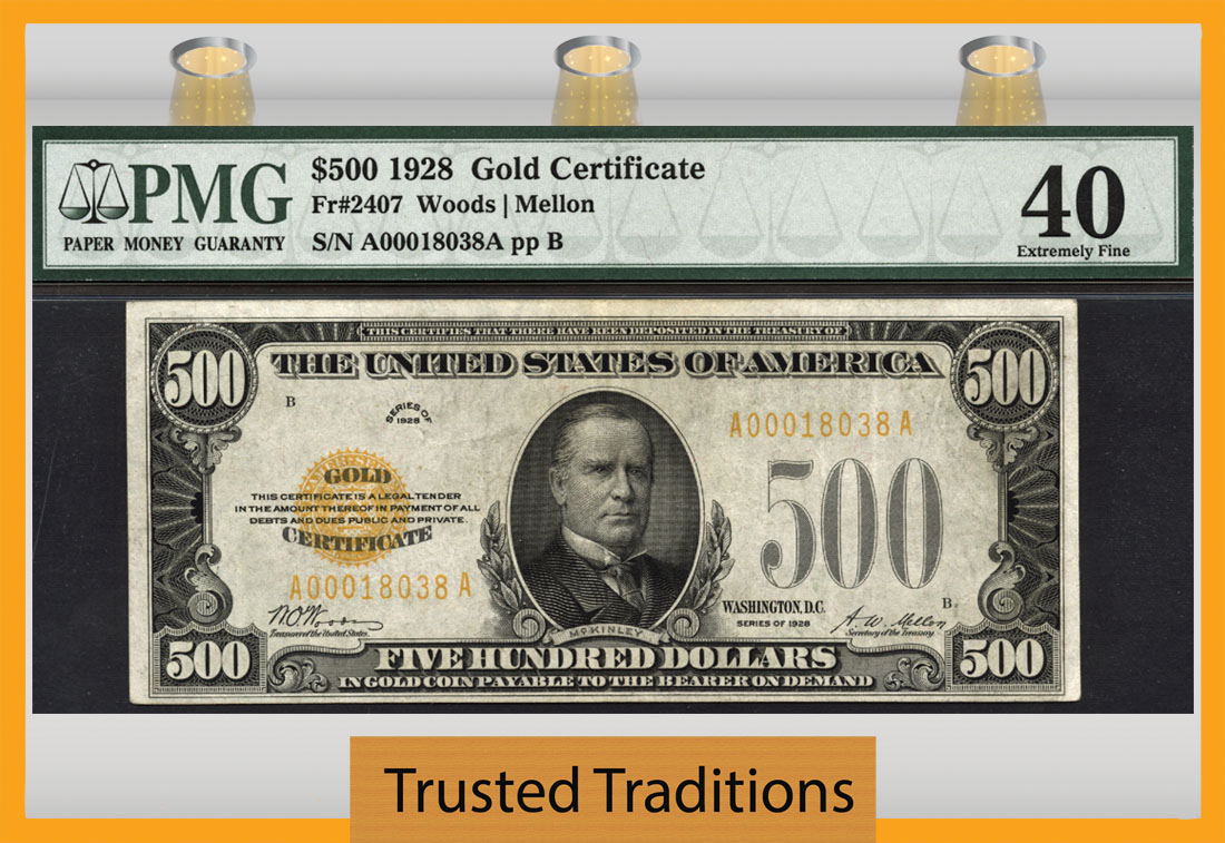Tt Fr 2407 1928 500 Gold Certificate Scarce Note Pmg 40 Extremely