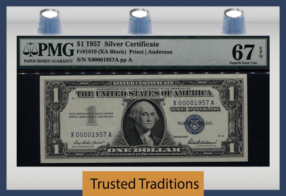 Tt Fr 1619 1957 1 Silver Certificate One In A Million Serial 1957