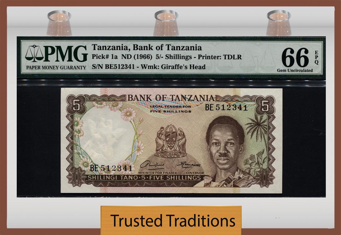 P-1 banknote ND paper money 1966 Uganda 5 Shillings UNC