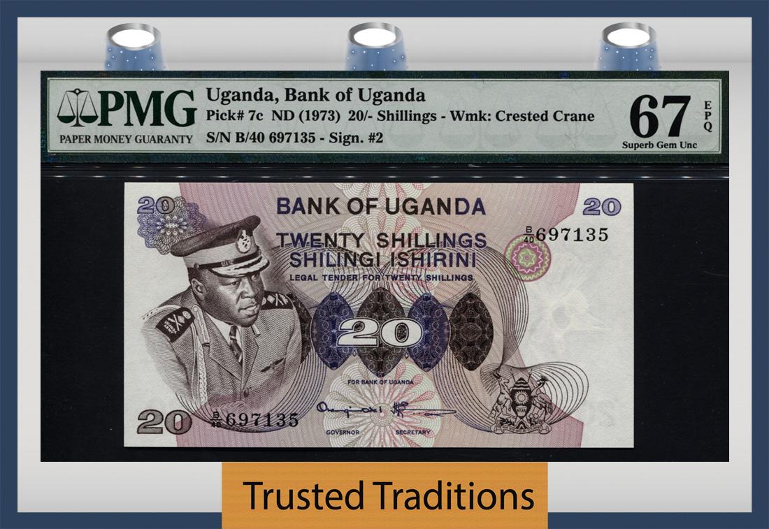 UGANDA 20 SHILLINGS 1973 P 7 c UNC